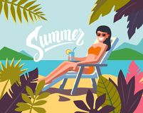 Young woman sunbathing on a beach. Vector Royalty Free Stock Photos