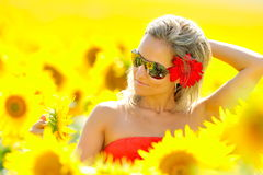 Young woman between sunflowers Royalty Free Stock Photos