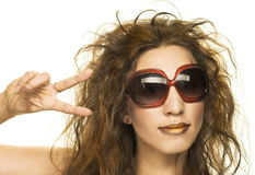 Young woman in sunglasses. Young happy woman in big sunglasses Royalty Free Stock Photos