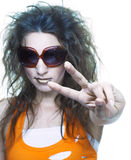 Young woman in sunglasses. Young happy woman in big sunglasses Stock Images