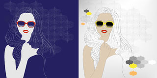 Young woman in sunglasses. Illustration of young woman in sunglasses stock illustration