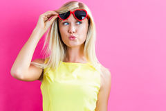 Young woman with sunglasses Royalty Free Stock Photography