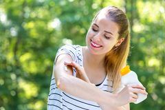 Young woman with sunscreen stock photos