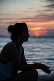 Young Woman Sunset Isla Mujeres beach, tropical paradise, caribb Stock Photo