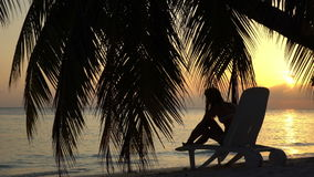 Young woman at sunset by the ocean under a palm tree. Young slim woman at sunset by the ocean under a palm tree stock video