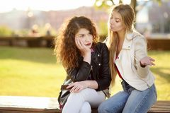 Young woman support and soothe her upsed friend. Young women support and soothe her upsed friend. Two girl during the conversation. Empathy concept Royalty Free Stock Image