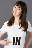 Young Woman Supporter Wearing T Shirt Printed With IN Stock Image