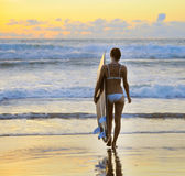 Young woman surfer with board Stock Photo