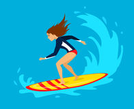 Young woman surfer riding on wave. Surfing water sport activity Stock Photo