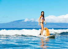 Young Woman Surfing with Her Dog Stock Image