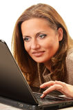 Young woman surfing on the Internet. Over white background Royalty Free Stock Images