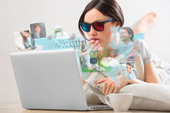 Young woman surfing on web with modern laptop Stock Photo