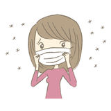 Young woman with surgical mask having hay fever. Symptom Royalty Free Stock Images