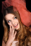 Young woman surpised and excited Royalty Free Stock Photography
