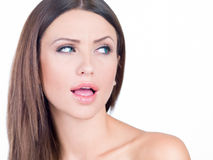 Young woman with a surprise look on her face Stock Photography