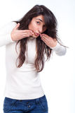 Young woman with surprised expression Royalty Free Stock Photos