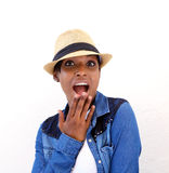 Young woman with surprised expression on face Royalty Free Stock Image