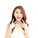 Young  woman with surprised gesture. Young asian woman with surprised gesture Royalty Free Stock Photography