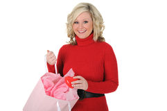 Young Woman Surprised With Gift. Stock Images