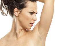 Perspiration - smelly armpits stock photos