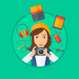 Young woman surrounded with her gadgets. Royalty Free Stock Images
