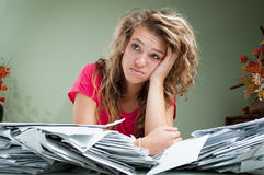 Young woman surrounded by letters royalty free stock images
