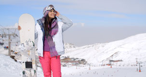 Young woman surveying the snow mountain slopes Stock Photography