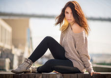 Young woman in sweater. Royalty Free Stock Photo