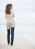 Young woman in sweater walking on lonely beach . rear view Royalty Free Stock Image