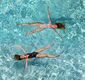 Young woman swiming in ocean,. Young woman smiles, swiming in ocean, Maldives Stock Photos