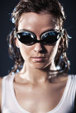 Young woman swimmer portrait. Water studio photo Royalty Free Stock Photography