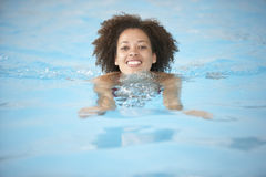 Young Woman Swimming In Pool Stock Image