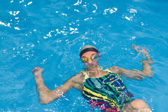 Young woman in the swimming pool underwater, had cramp and were drowned.  Royalty Free Stock Images