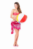 Young woman in swimsuit with beach ball Stock Photos