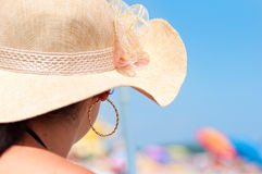 Young woman in swimsuit beach hat Royalty Free Stock Photo