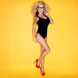 Young Woman In Swimsuit Wearing Eyeglasses Royalty Free Stock Photo
