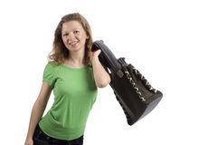 Young woman swinging her bag Stock Image