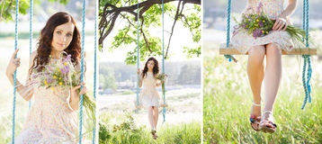 Young woman is swinging on a swing in summer forest. Collage Royalty Free Stock Photo