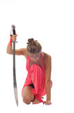 Young woman with sword Royalty Free Stock Photography