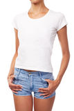 Young woman in a t-shirt, white background Stock Photography