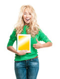 Young woman with tablet computer. Royalty Free Stock Images