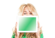 Young woman with tablet computer. Stock Images