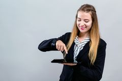 Young woman with a tablet computer Stock Photo