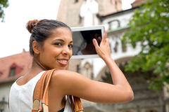 Young woman with tablet Royalty Free Stock Photos