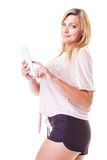 Young woman with tablet isolated Royalty Free Stock Photography