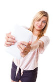 Young woman with tablet isolated Stock Photography