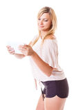 Young woman with tablet isolated Royalty Free Stock Photo