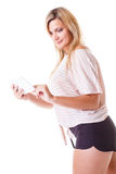 Young woman with tablet isolated Stock Photos