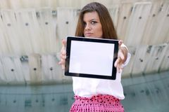 Young Woman with Tablet Stock Photo