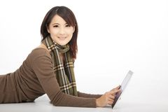 Young woman with a tablet pc Stock Images